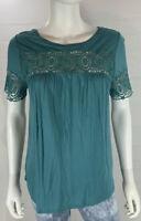 Ann Taylor LOFT T-shirt Size XS Women's Blue Crochet Short Sleeve Tee EUC