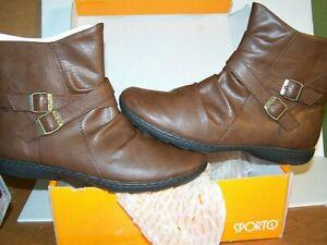 NEW NIB Sporto Leona BROWN Ankle Boots Womens US 8.5M Ret $59 Element Shield ZIP