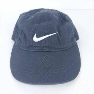 Nike Boys Baseball Cap Blue White Swoosh Adjustable Hook And Loop OS