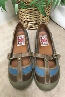 Lucky Brand Women's 9 Mary Jane Blue Canvas Leather Walking Slip On Shoes EXC