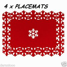 Set of 4 Christmas Placemats Coaster Snowflake Dinner Table Red Felt Lazercut