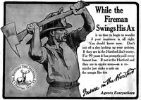 Fire Fighter Fireman Swings His Ax 1909 Hartford Fire Insurance Ad