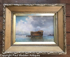 Antique Oil Painting of Prison Hulk Near Woolwich