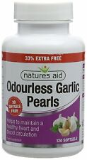 Natures Aid Odourless Garlic Pearls, 120 Softgel Capsules (One-a-Day, to Help Ma