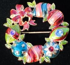 NWT RHINESTONE CANDY ORNAMENT BOW CHRISTOPHER RADKO WREATH PIN BROOCH JEWELRY #2
