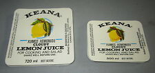 Wholesale lot of 200 Old Vintage - KEANA - Lemon Juice - LABELS