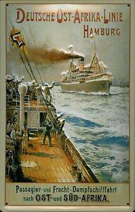 Dampfschiff Hamburg - Afrika Blechschild Schild 3D Tin Sign 20 x 30 cm B108