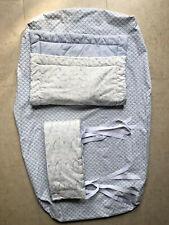 Vtg French Toile Baby Crib 3 Pc. Set Nursery Bedding Bumper Blanket Sheet Blue