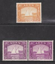 ADEN 1937 DOW 2rs, 5rs DEEP PURPLE & BRIGHT PURPLE  VF MINT STAMPS CV 870 £