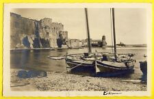 cpa Carte Photo GLASER à Perpignan COLLIOURE Barques Château Eglise ND des Anges