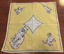 Vintage White Persian Cat with Kittens Green Eyes Handkerchief Yellow Hankie