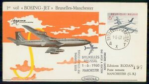 Mayfairstamps BELGIUM FIRST FLIGHT 1960 COVER BRUXELLES TO MANCHESTER wwi92971