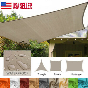 Coarbor 8x8x8 Triangle Sun Shade Sail Canopy UV Block Shade Fabric Cover for Outdoor Shade Pool Yard Patio Deck Garden Pad Eyes Included Beige//White Wide Stripes
