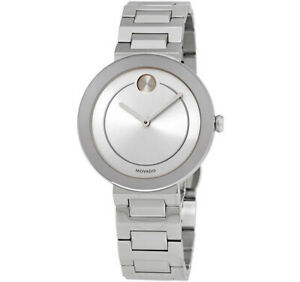 MOVADO Dress Luxury Lady's Silver Watch Silver Case & Butterfly Bracelet 3600497
