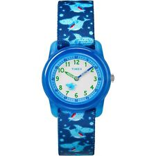 Kids Timex Time Teacher Blue Sharks Elastic Fabric Band Watch TW7C13500