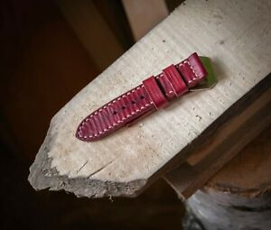 Handmade ruby red leather strap for Panerai with GPF buckle 27,26, 24,22mm