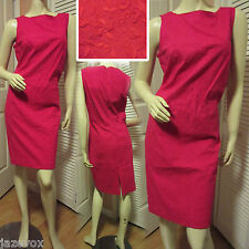 SUSAN BRISTOL Vintage New Womens Red Floral Embroidery Sheath Dress L 12 $128