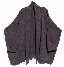 Eskandar DARK BROWN Heavy Weight Wool Cashmere Silk Shawl Collar Cardigan $1695