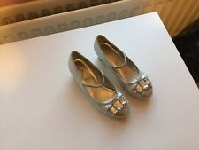 Girls Monsoon Size 2 Silver Heeled Shoes. Elastic Strap. Excellent Condition