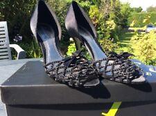 Bourne Size 38Eu 5 Uk Ladies Black Satin Peep Toe Diamante Stilettoes