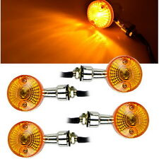4 x Motorcycle Motorbike Turn Signal Light Bulb Lamp 12V Amber Indicators Chrome
