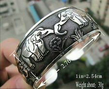 Lucky Tibet silver carved Elephant pattern cuff totem bracelet ,unisex