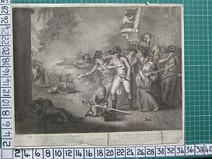 1789 DATED ANTIQUE PRINT ~ THE YOUNG HERO OF TURNHOUT ~ BATTLE SCENE