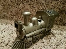 Pewter Coin Train Piggy Bank Metal Steam Engine Railroad Heavy Silver Collector