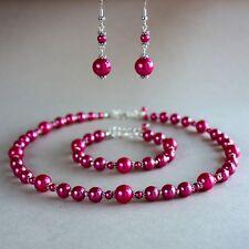 Hot fuchsia pink pearls collar necklace bracelet earrings wedding bridal set