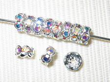 Sale! 100 Swarovski Rondelles 6mm Silver/Crystal AB  - SR603