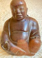 "Antique Buddah Sitting Wood Carving 3"" x 3"" INDIA CIRCA 1962 1/2lb FREE USA SHIP"