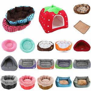 Warm Fleece Dog Bed Round Pet Lunoger Cushion Cat Winter Kennel Puppy Soft Mat