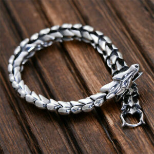 Trendy Men's Titanium Steel Dragon Scale Link Chain Bracelet Cuban Punk Bracelet
