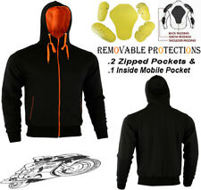 MENS ORANGE BLACK FLEECE HOODIE REMOVABLE CE ARMOUR MOTORBIKE MOTORCYCLE JACKET
