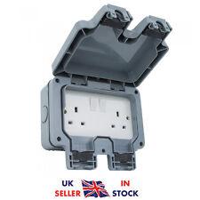2 Gang 2 Way Double Socket Switch Outdoor Plug IP66 Garden Waterproof Box 13A