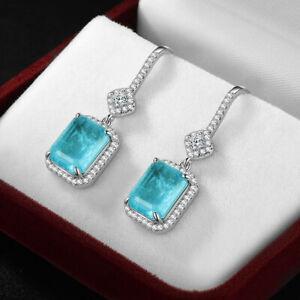 925 Sterling Silver Drop Dangle Earrings Women Blue Paraiba Tourmaline Gemstone