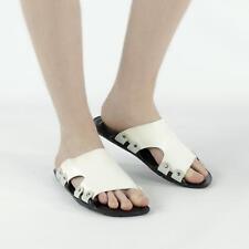 Mens Slip On Beach Summer Casual Comfy Sliders Flip Flops Mule Sandals White