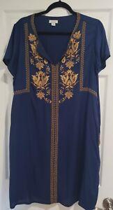 Sundance Catalog Embroidered Dress in Blues & Gold - Size XL EUC