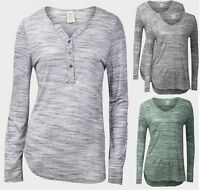 """Faded Glory"""" Ladies Womens Y-neckline Tops Long Roll Sleeves Grey Jersey T Shirt"""