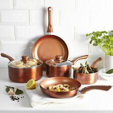 5 PC Metal Cermalon Ceramic Copper Induction Cooking Saucepan Frying Pan Pot Set