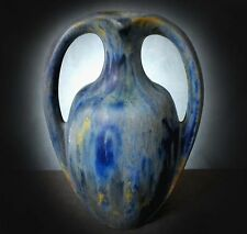 SUPERB VERY RARE PIERREFONDS TWIN HANDLED CRYSTALINE GLAZED VASE
