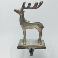 Pottery Barn Reindeer Christmas Stocking Hanger Silver Plated Finish