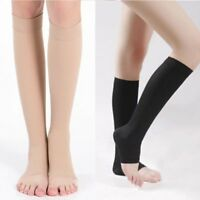 US Mens Womens Compression Toeless Socks Knee High Support Stockings Open Toe