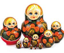 """Nesting Doll with Khokhloma Pattern. Hand Painted Russian Matryoshka. 10 pcs 6"""""""