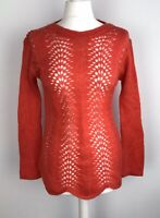 Y2K Retro 2000 Ted Baker Knitted Jumper Size1  10 12 Red/orange With Wool Mohair