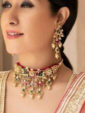 Bollywood Gold Plated Indian Pachi Kundan Jewelry Jhumka Necklace Bridal Set