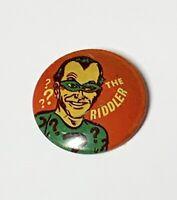 "VINTAGE DC Comics PinBack 1966  The Riddler  Pin Back Yellow & Red 1"" Wide C1-4"
