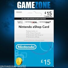 Nintendo e-Shop £15 Card Code - £15 GBP UK Nintendo eShop 3DS/DS/Wii/Wii U