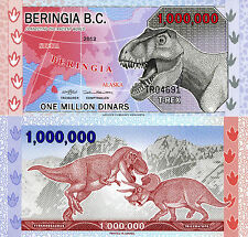 BERINGIA 1 Million Dinars Fun-Fantasy Note 2013 Private Issue T-Rex Triceratops