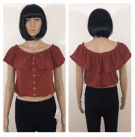 New Poof Striped Sexy Off The Shoulder Crop Top Orange Black Size M L